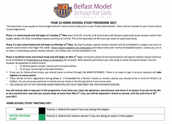 Year 12 Information Sheet
