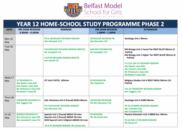 Year 12 Home-School Study Programme